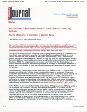 Accountability and Information Practices in the California Community Colleges: Toward Effective Use of Information in Decision-Making