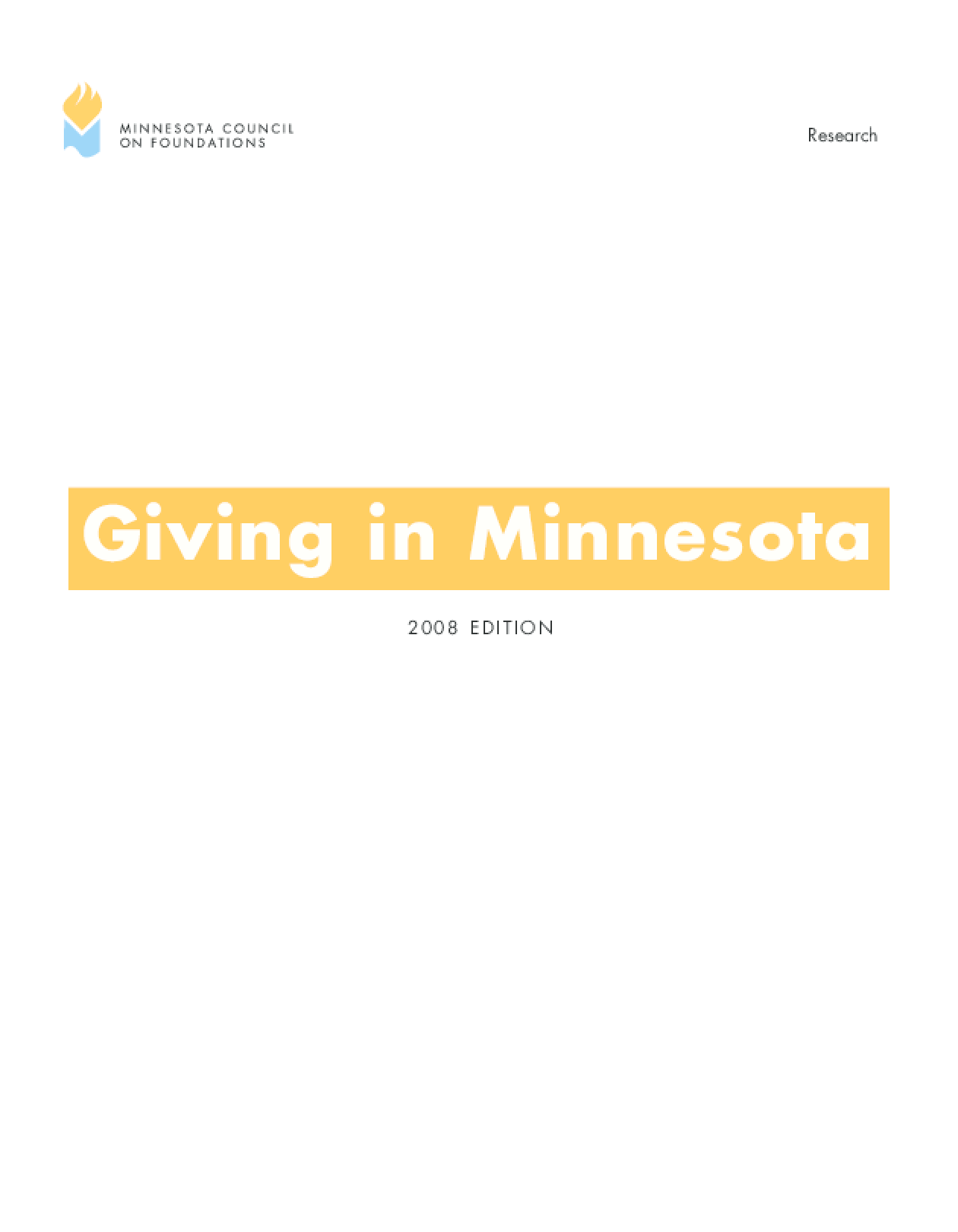 Giving in Minnesota, 2008 Edition