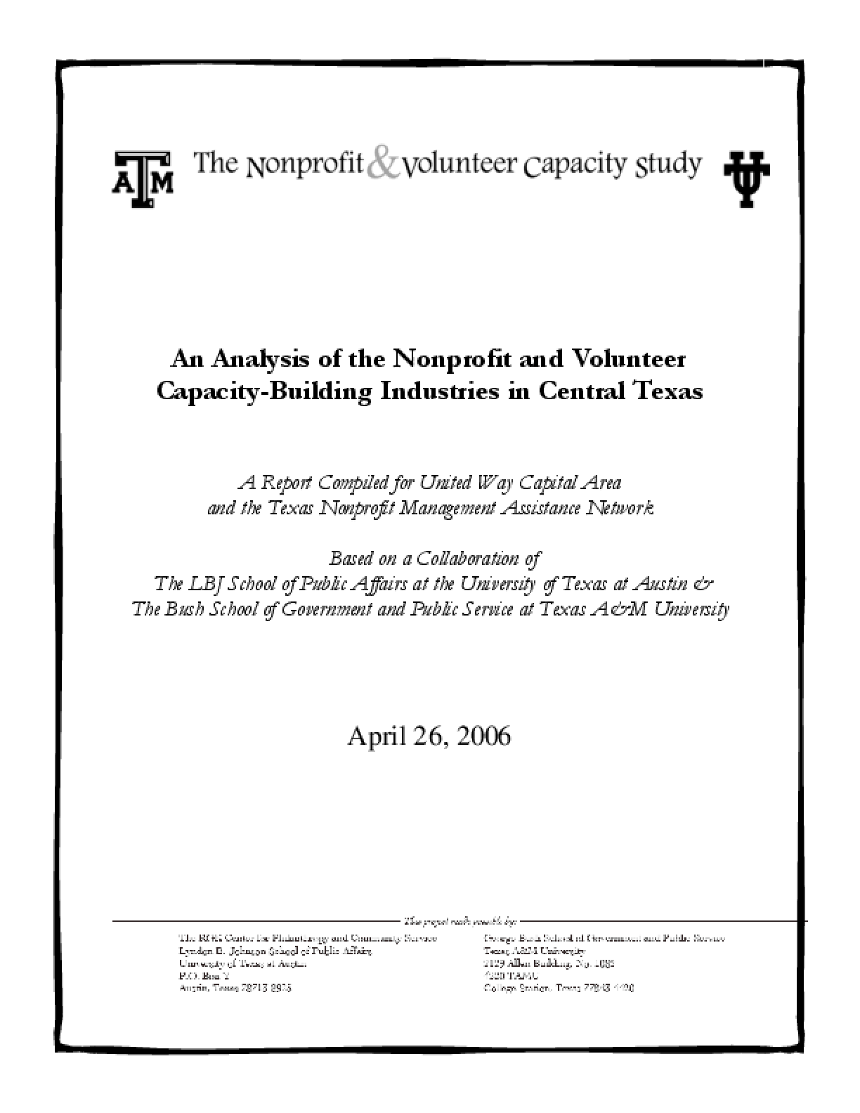 An Analysis of the Nonprofit and Volunteer Capacity-building Industry in Central Texas