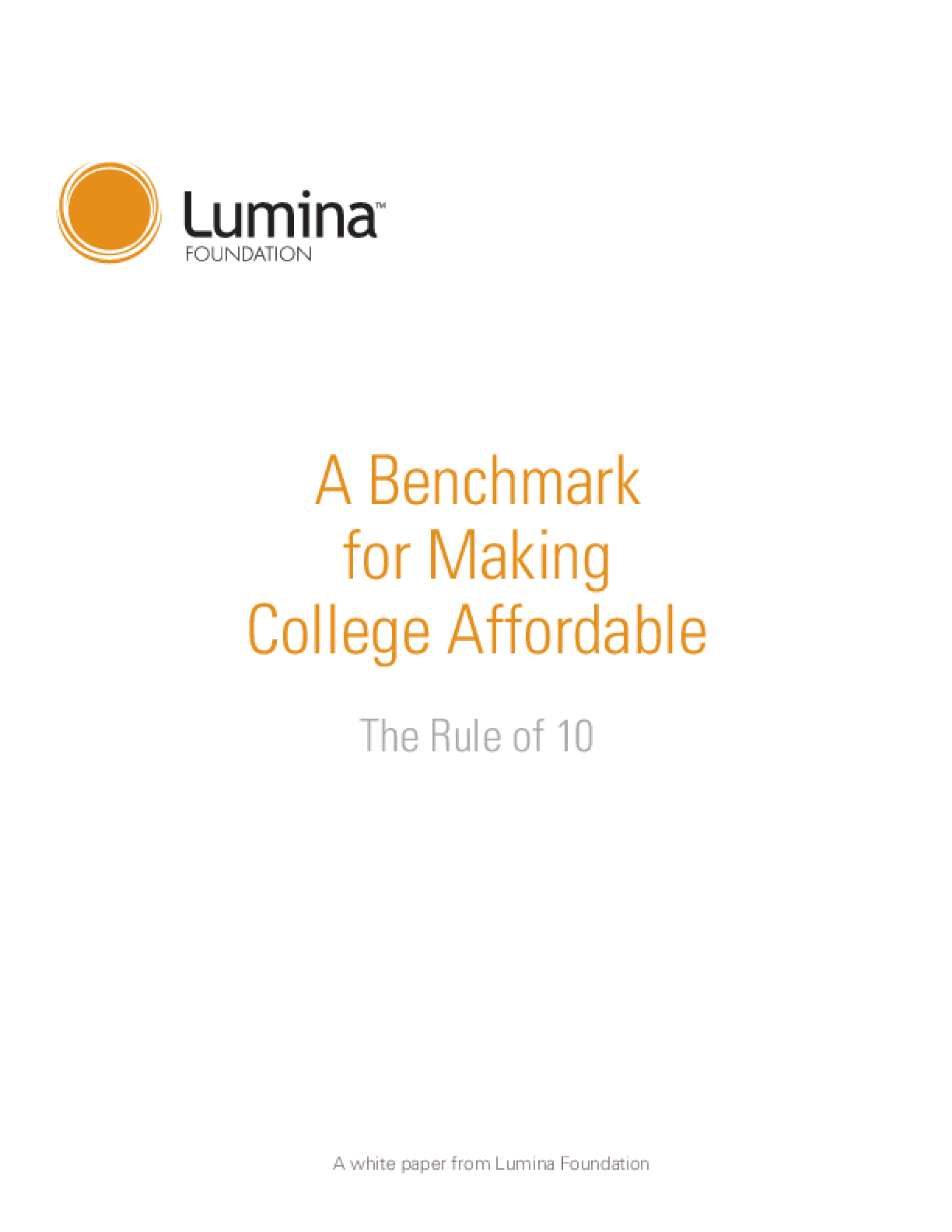 Benchmark for Making College Affordable, A