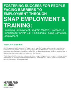 Fostering Success for People Facing Barriers to Employment through SNAP Employment and Training:Promising Employment Program Models, Practices, and Principles for SNAP E&T Participants Facing Barriers to Employment
