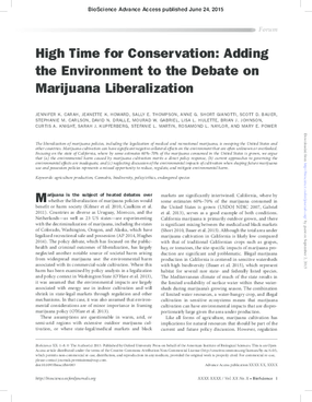 High Time for Conservation: Adding the Environment to the Debate on Marijuana Liberalization