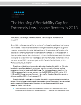 The Housing Affordability Gap for Extremely Low-Income Renters in 2013