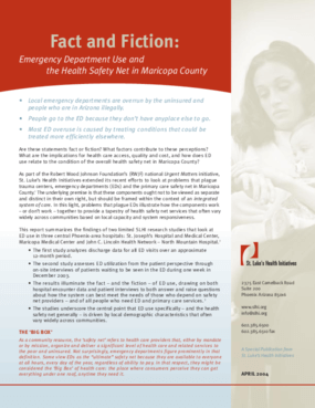 Fact and Fiction: Emergency Department Use and the Health Safety Net in Maricopa County