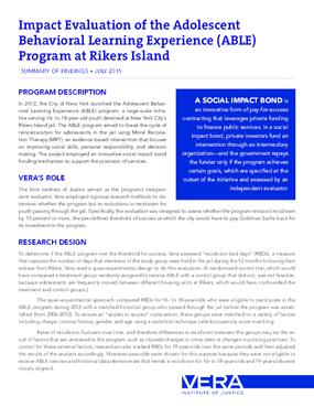 Impact Evaluation of the Adolescent Behavioral Learning Experience (ABLE) Program at Rikers Island