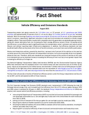 Fact Sheet: Vehicle Efficiency and Emissions Standards