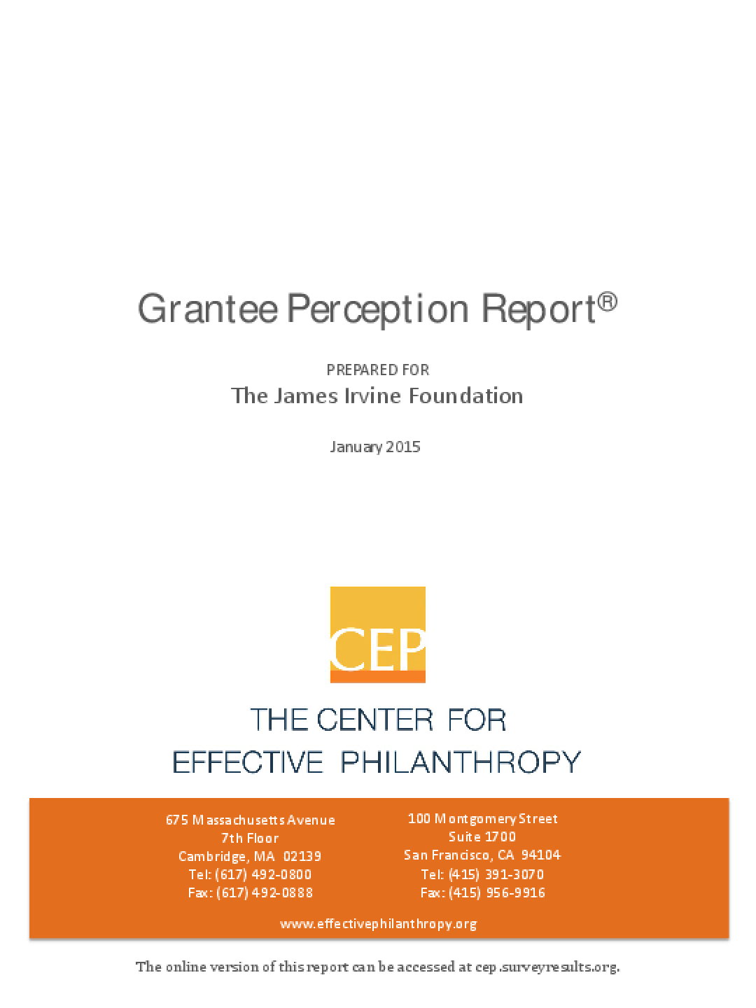 Grantee Perception Report 2015: James Irvine Foundation