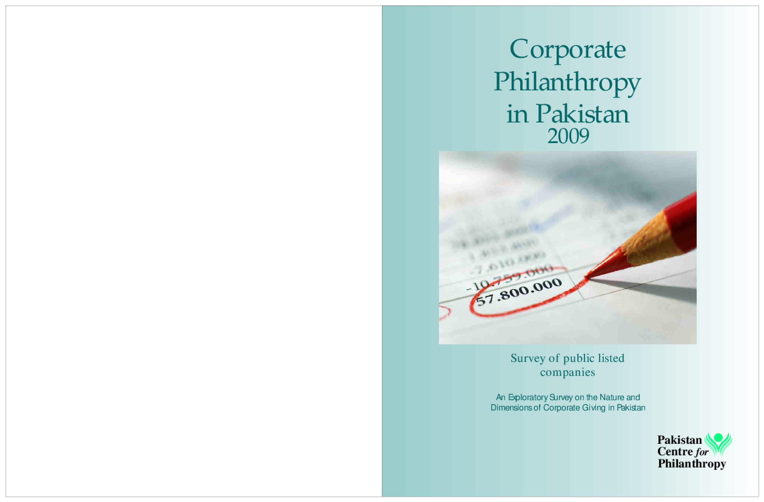 Corporate Philanthropy in Pakistan 2009