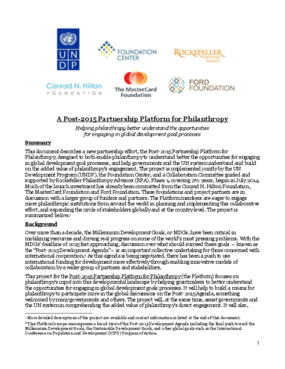 Background on the Post-2015 Partnership for Philanthropy Initiative