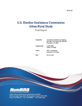 U.S. Election Assistance Commission Urban-Rural Study: Final Report