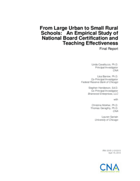 From Large Urban to Small Rural Schools: An Empirical Study of National Board Certification and Teaching Effectiveness Final Report
