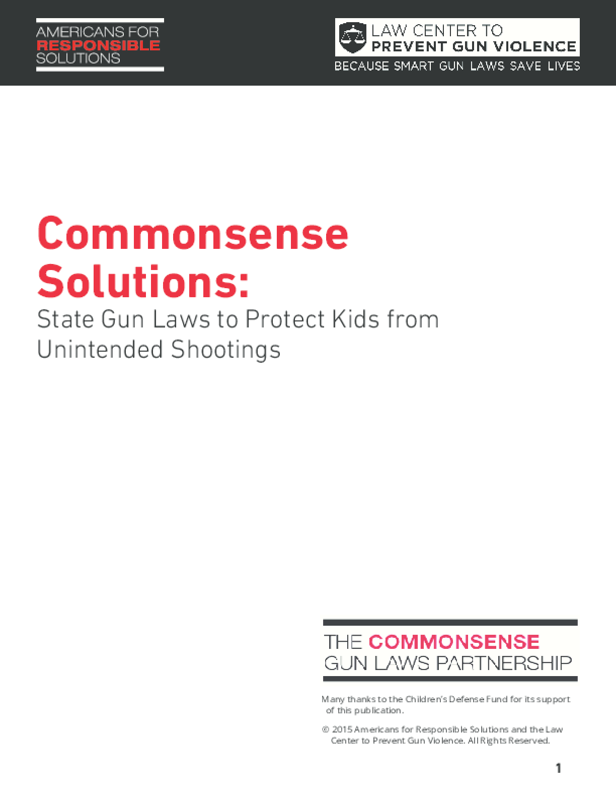 Commonsense Solutions: State Gun Laws to Protect Kids from Unintended Shootings