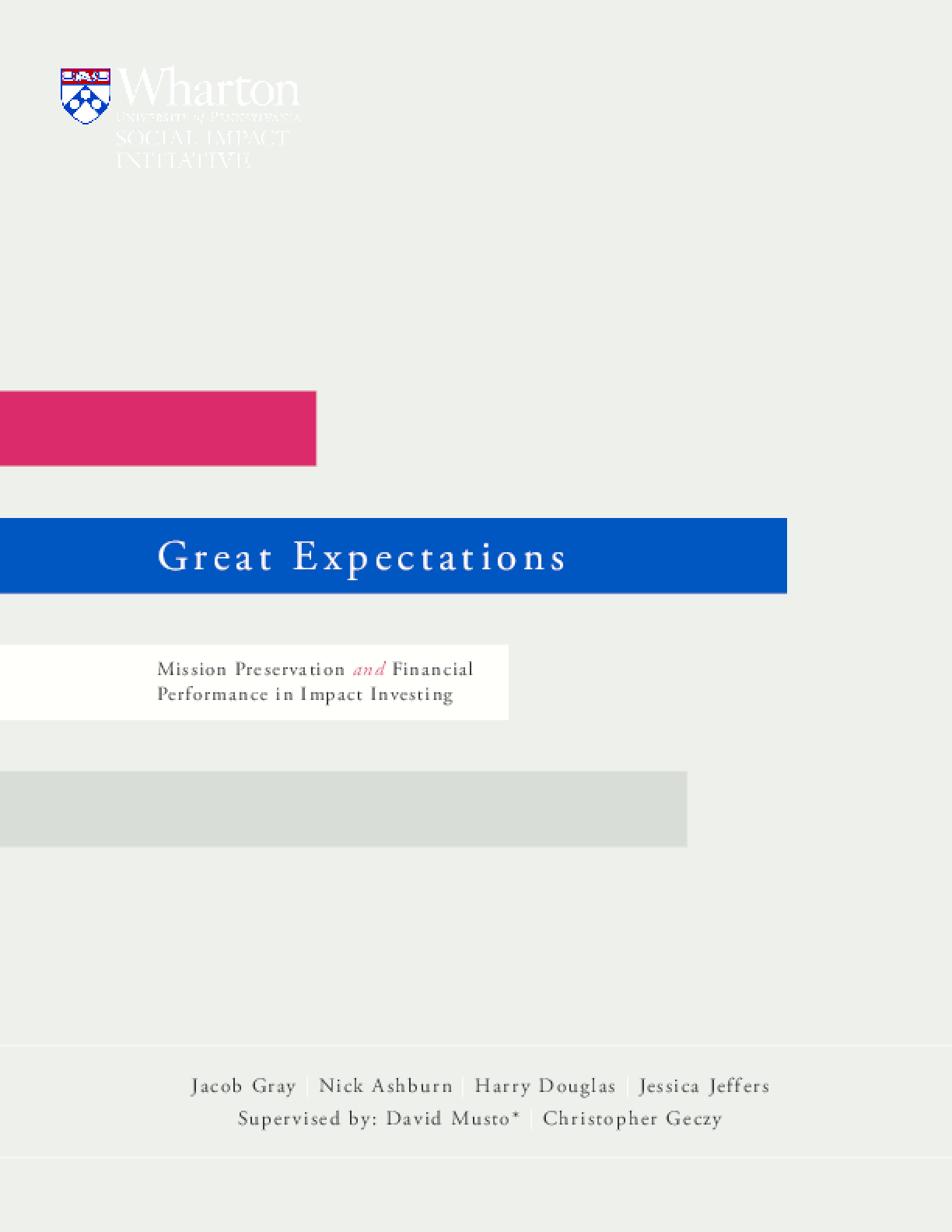 Great Expectations: Mission Preservation and Financial Performance in Impact Investing