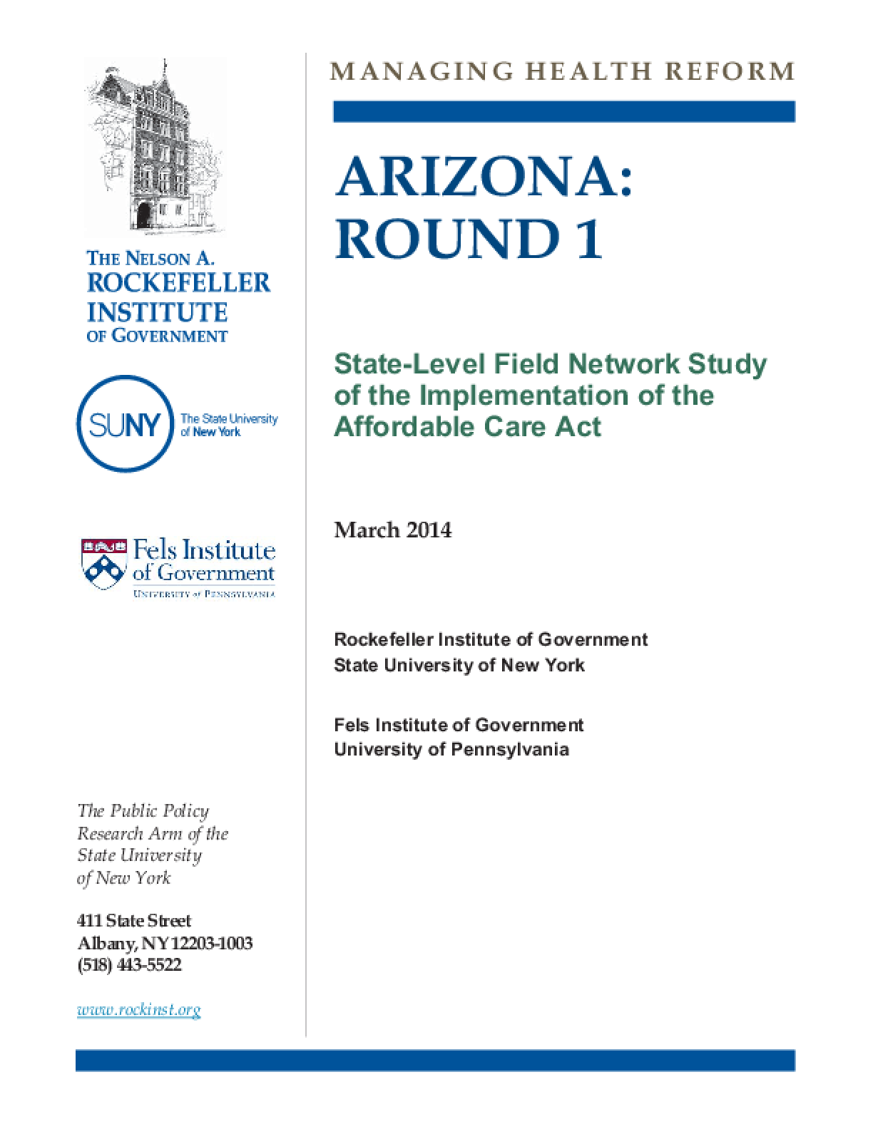 Arizona: Round 1 - State-Level Field Network Study of the Implementation of the Affordable Care Act