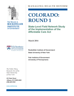 Colorado: Round 1 - State-Level Field Network Study of the Implementation of the Affordable Care Act