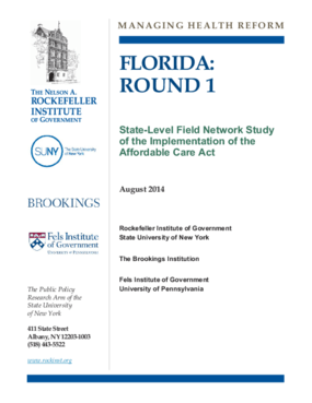Florida: Round 1 - State-Level Field Network Study of the Implementation of the Affordable Care Act
