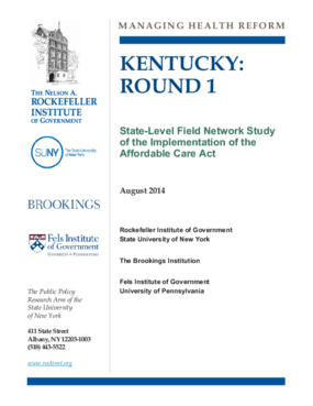 Kentucky: Round 1 - State Level Field Network Study of the Implementation of the Affordable Care Act