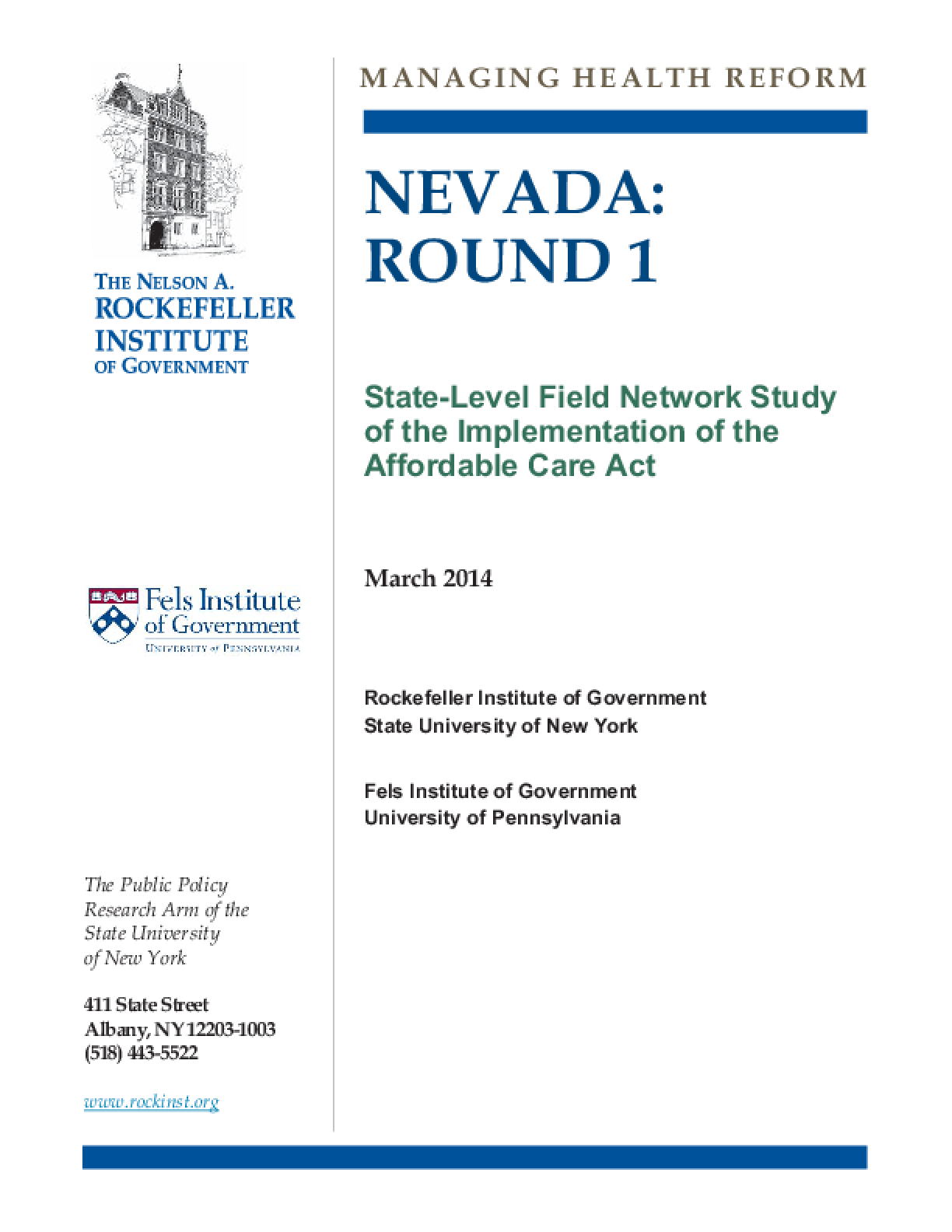 Nevada: Round 1 - State-Level Field Network Study of the Implementation of the Affordable Care Act
