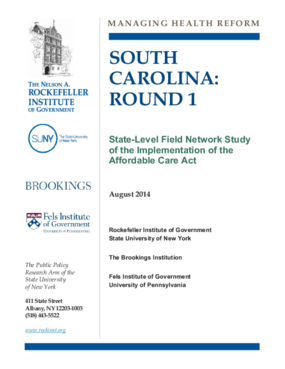 South Carolina: Round 1 - State Level Field Network Study of the Implementation of the Affordable Care Act