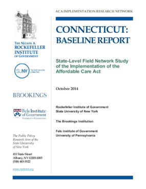 Connecticut: Baseline Report - State Level Field Network Study of the Implentation of the Affordable Care Act