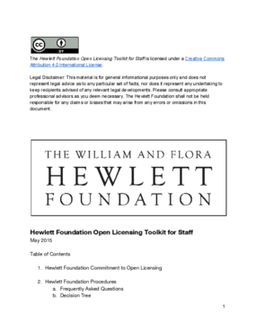 Hewlett Foundation Open Licensing Toolkit for Staff