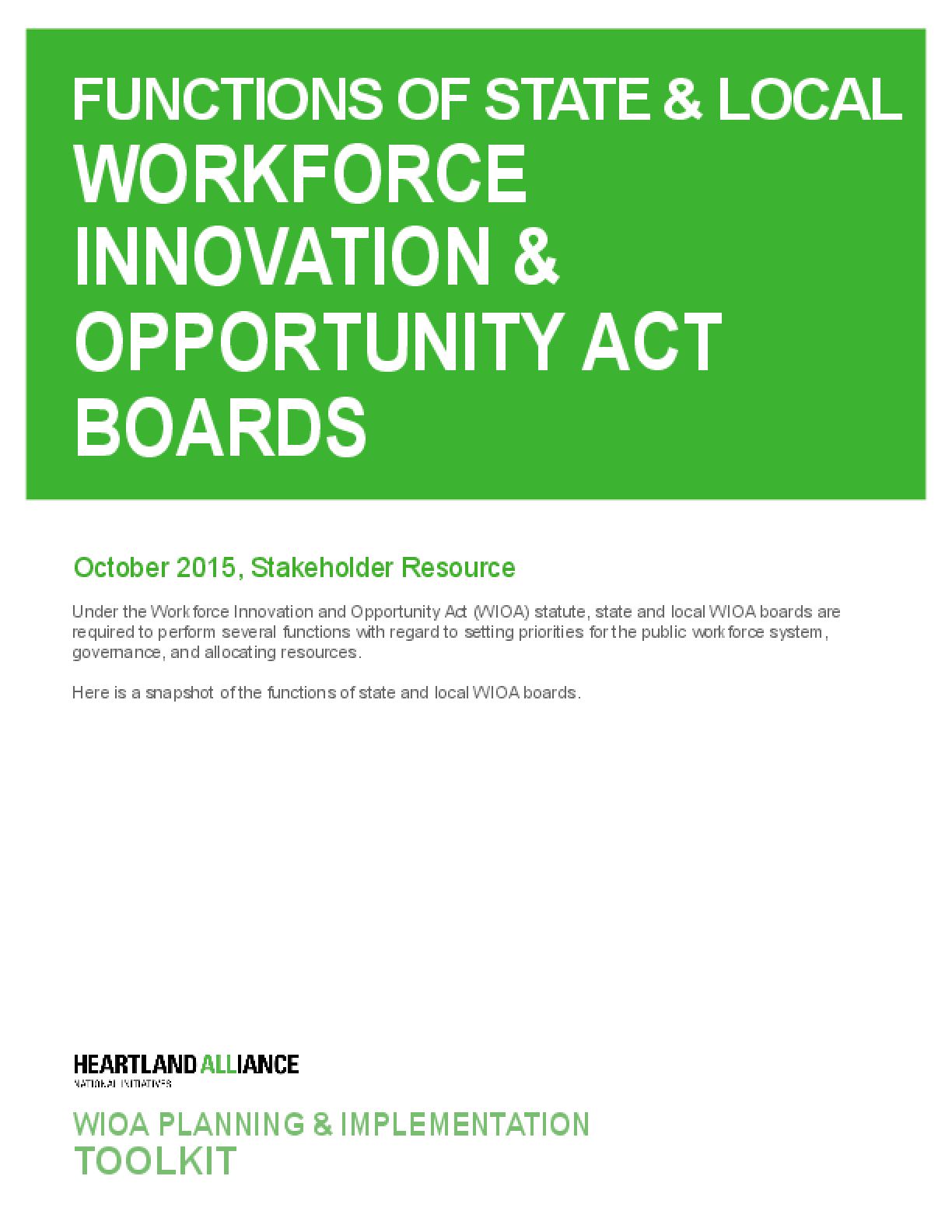 Functions of State and Local Workforce Innovation and Opportunity Act Boards