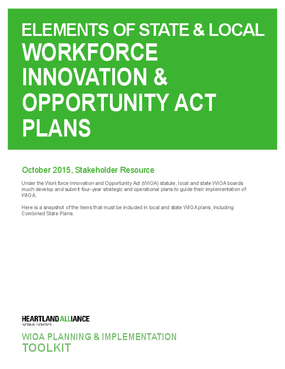 Elements of State and Local Workforce Innovation and Opportunity Act Plans