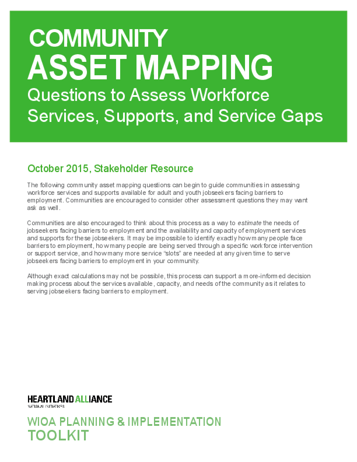 Community Asset Mapping: Questions to Assess Workforce Services, Supports, and Service Gaps