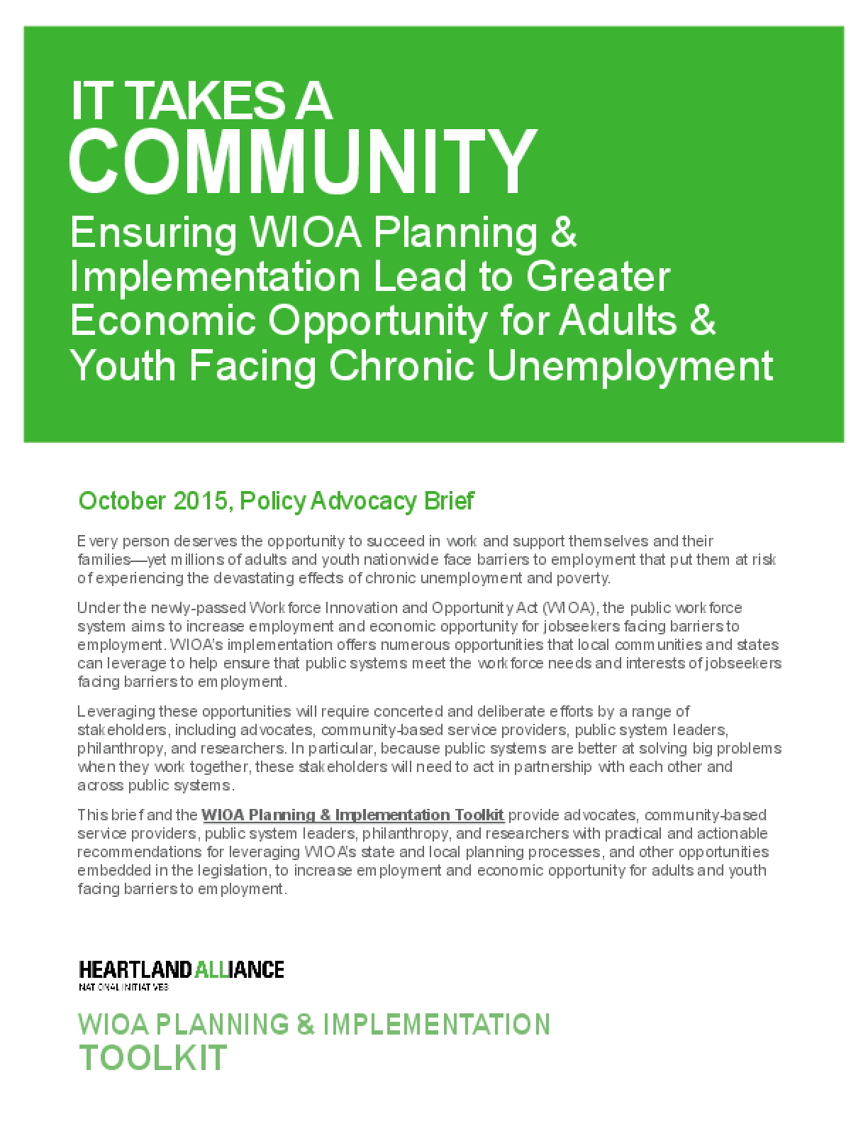 It Takes a Community: Ensuring WIOA Planning and Implementation Lead to Greater Economic Opportunity for Adults and Youth Facing Chronic Unemployment