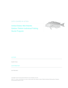 Catch Shares in Action: United States Mid-Atlantic Golden Tilefish Individual Fishing Quota Program