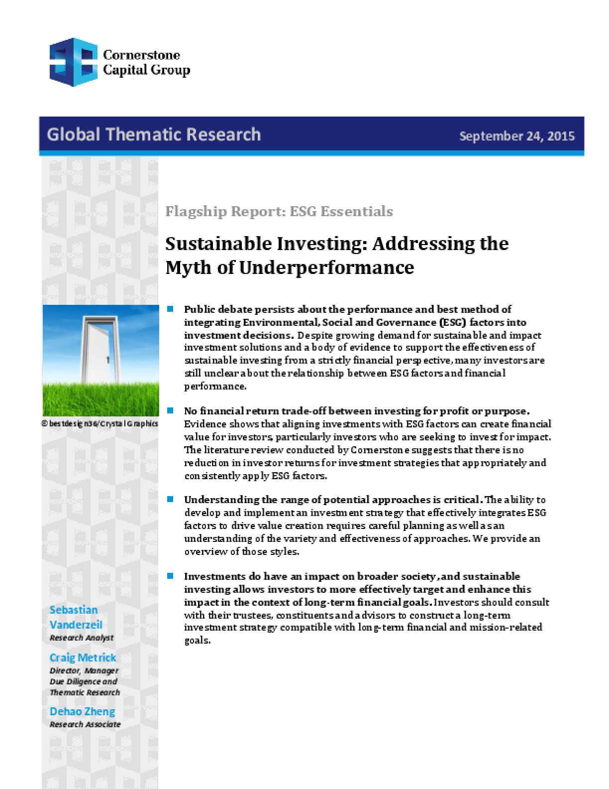 Flagship Report: ESG Essentials - Sustainable Investing: Addressing the Myth of Underperformance