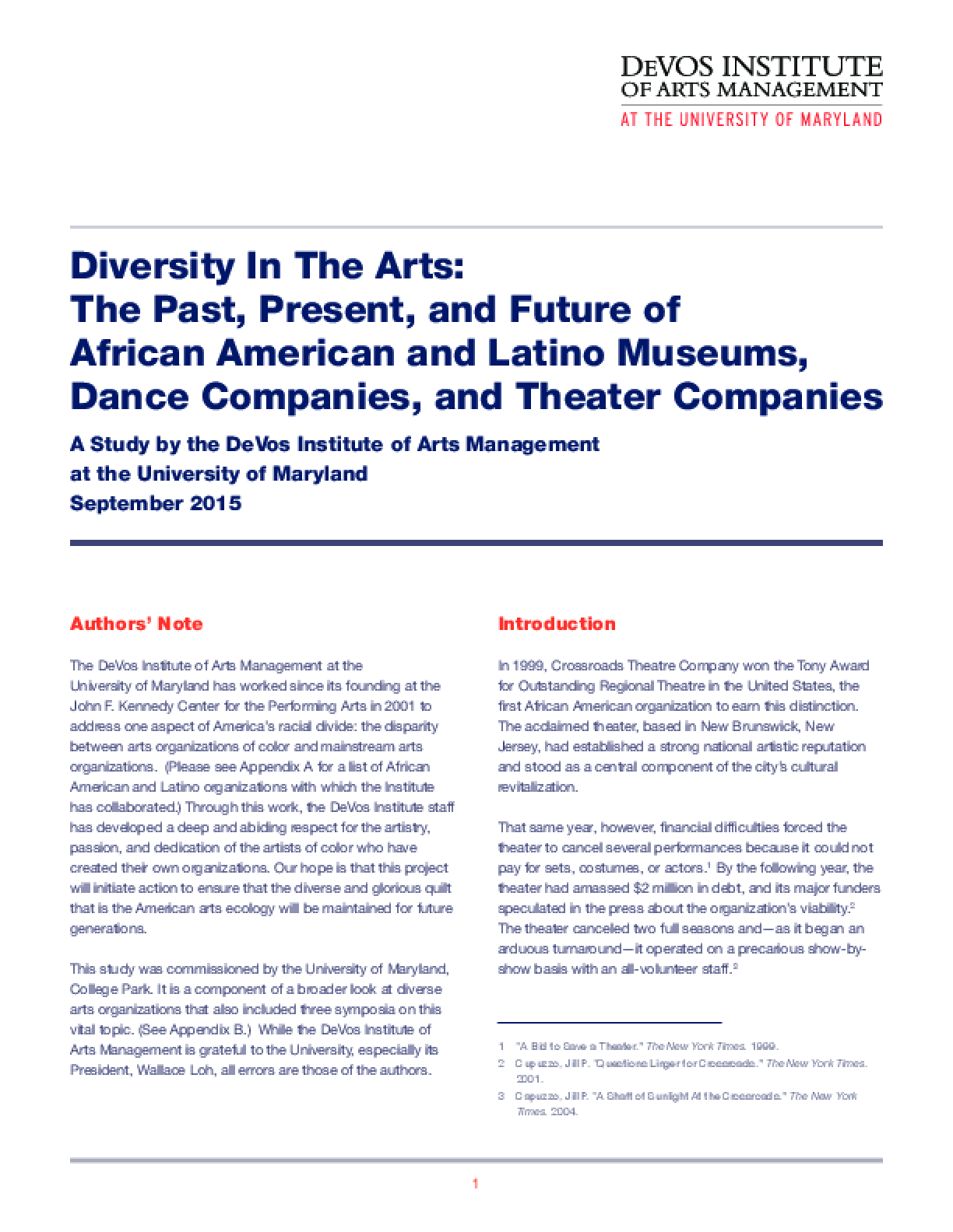 Diversity In The Arts: The Past, Present, and Future of African American and Latino Museums, Dance Companies, and Theater Companies