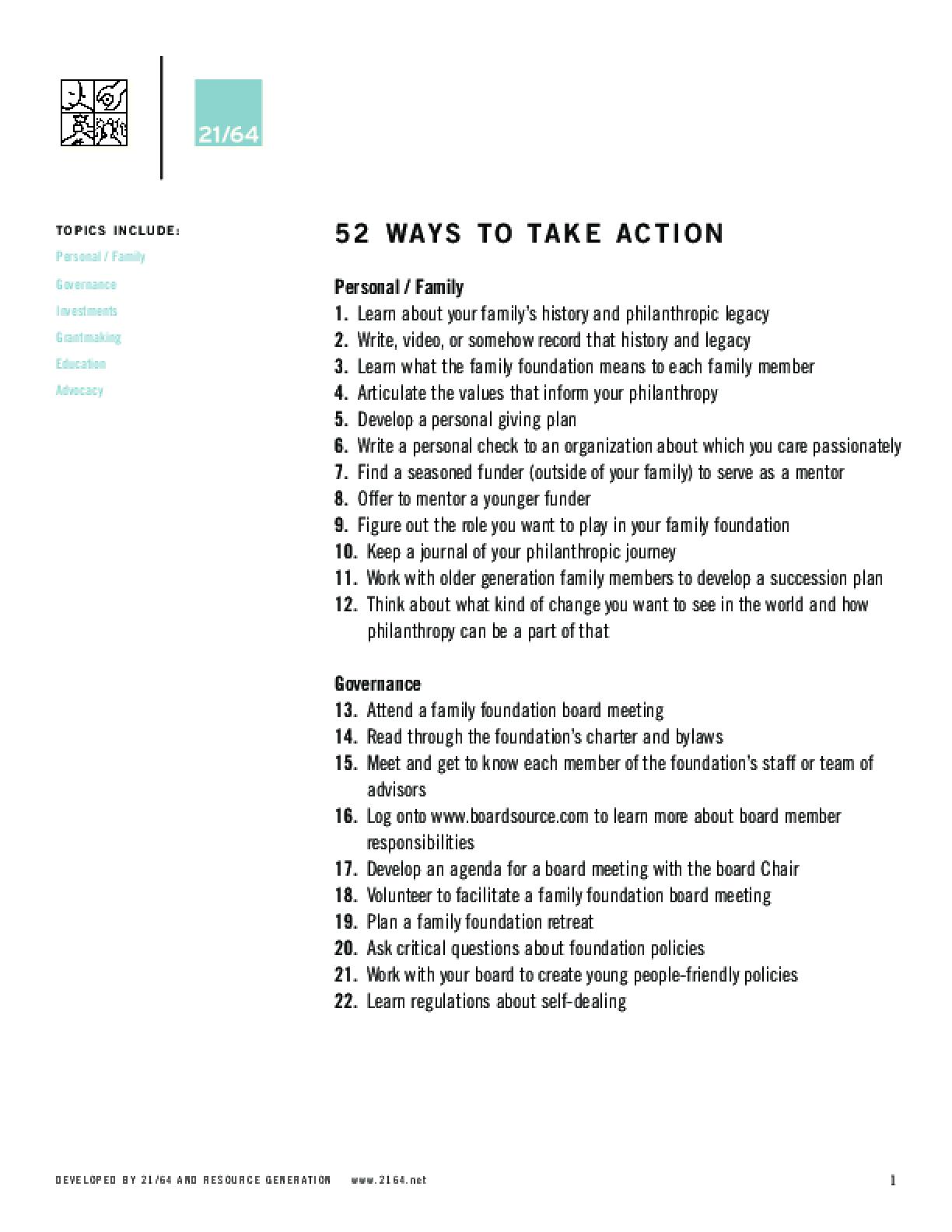 52 Ways to Take Action