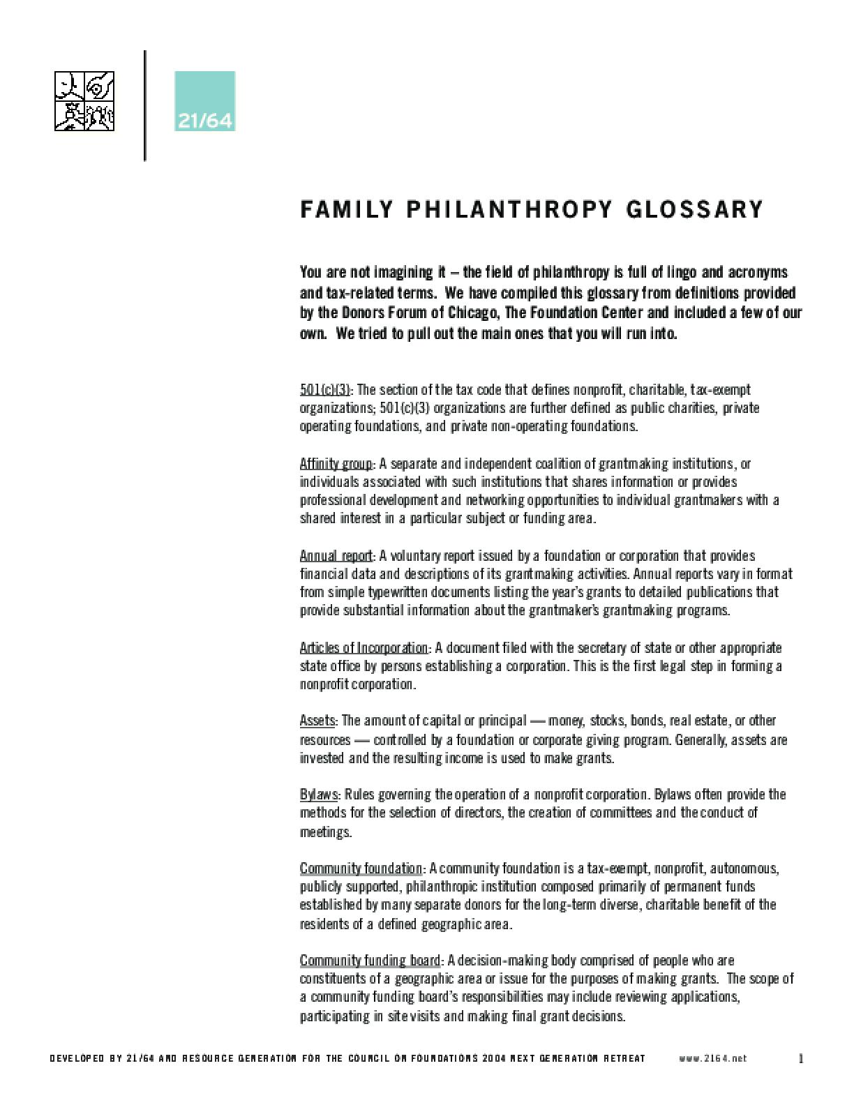Family Philanthropy Glossary