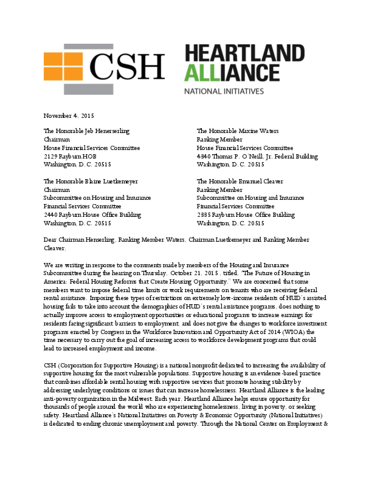 Letter to HFSC: Raising Awareness of Improving Access to Workforce Programs for Extremely Low Income Households