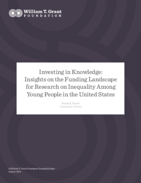 Investing in Knowledge: Insights on the Funding Landscape for Research on Inequality Among Young People in the United States