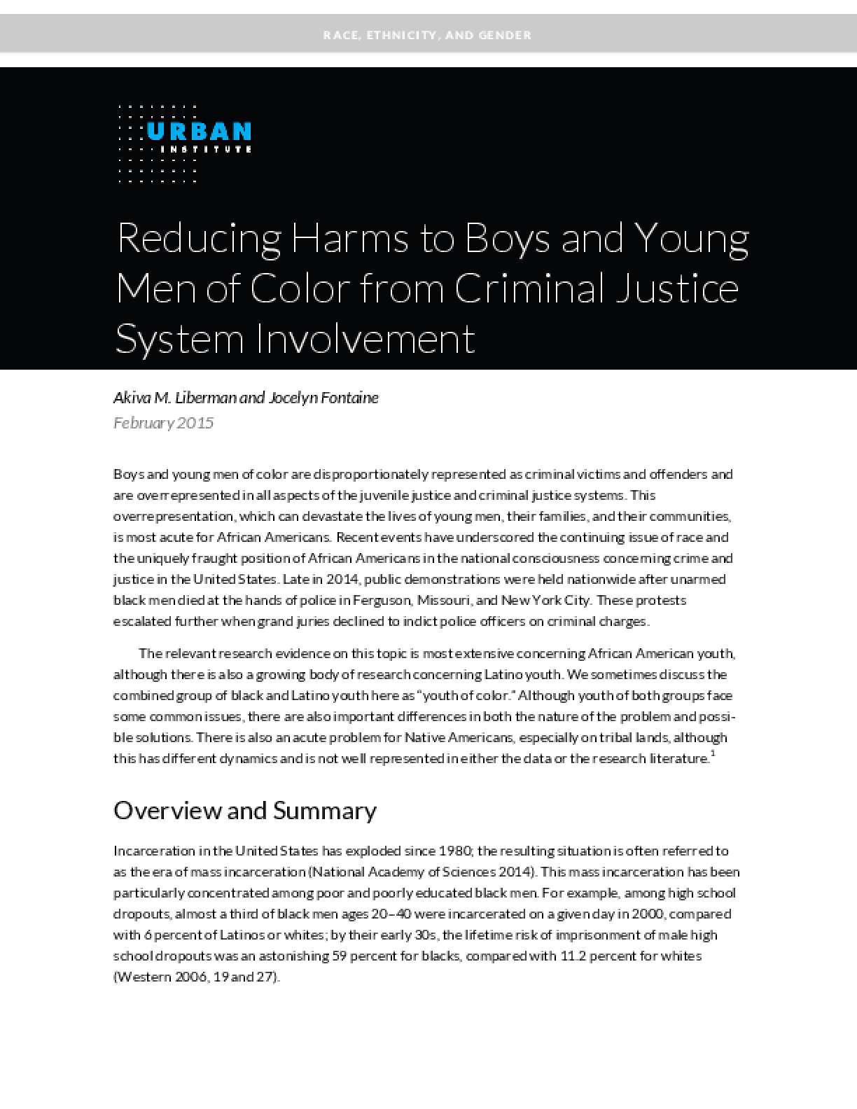 Reducing Harms to Boys and Young Men of Color from Criminal Justice System Involvement
