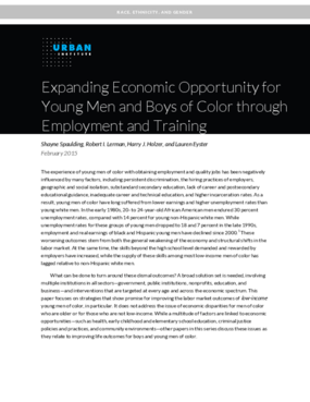 Expanding Economic Opportunity for Young Men and Boys of Color through Employment and Training