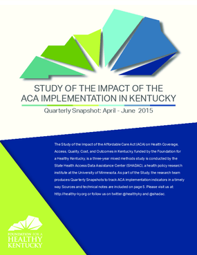 Study of the Impact of the ACA Implementation in Kentucky - Quarterly Snapshot: April-June 2015