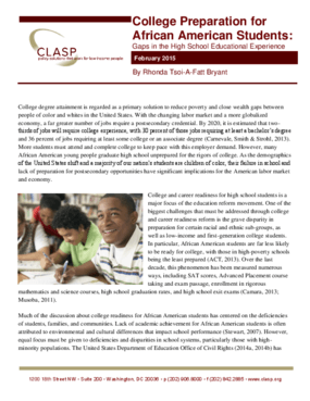 College Preparation for African American Students: Gaps in the High School Educational Experience