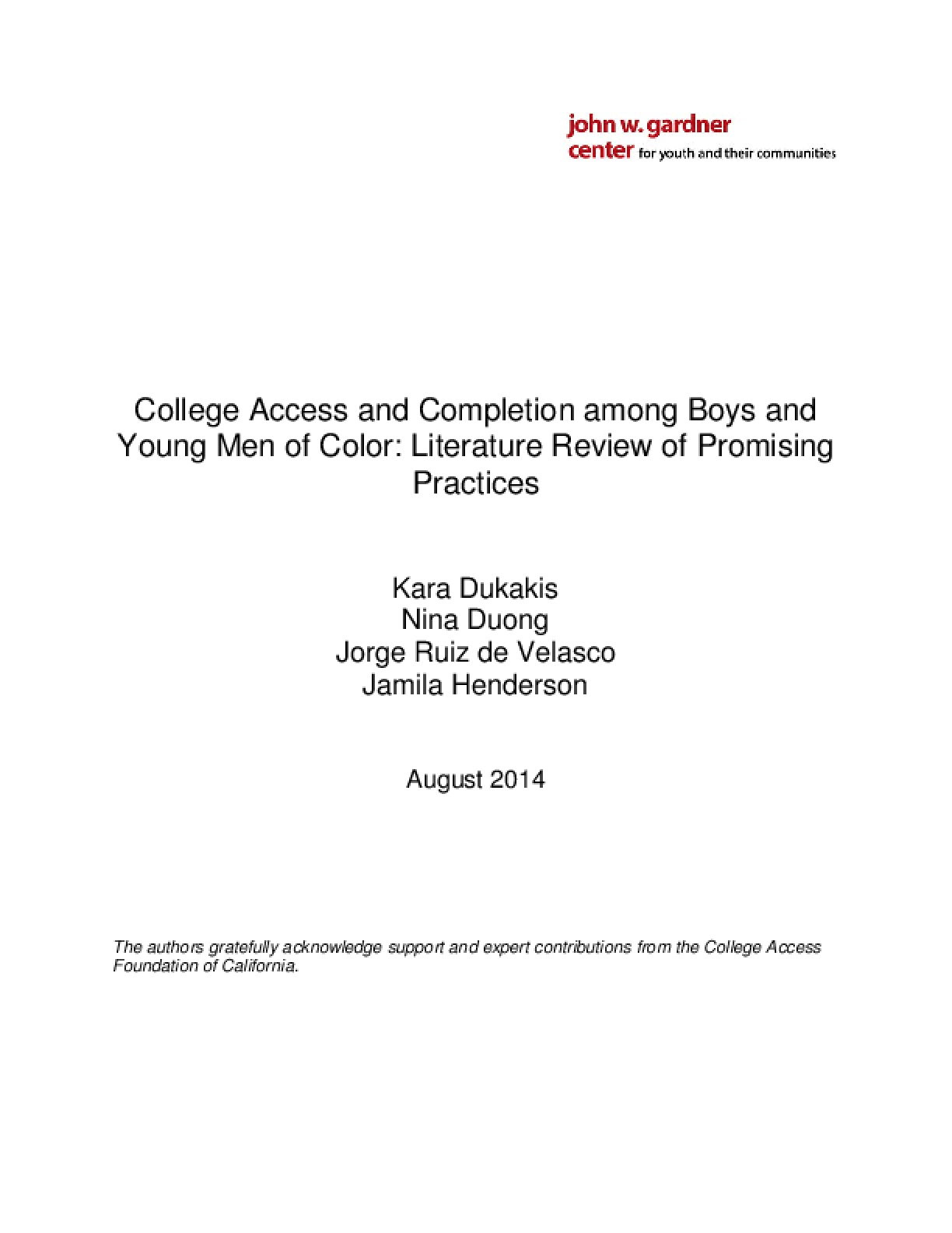 College Access and Completion among Boys and Young Men of Color: Literature Review of Promising Practices