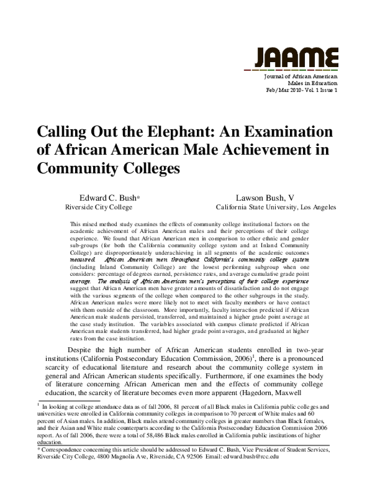 Calling Out the Elephant: An Examination of African American Male Achievement in Community Colleges