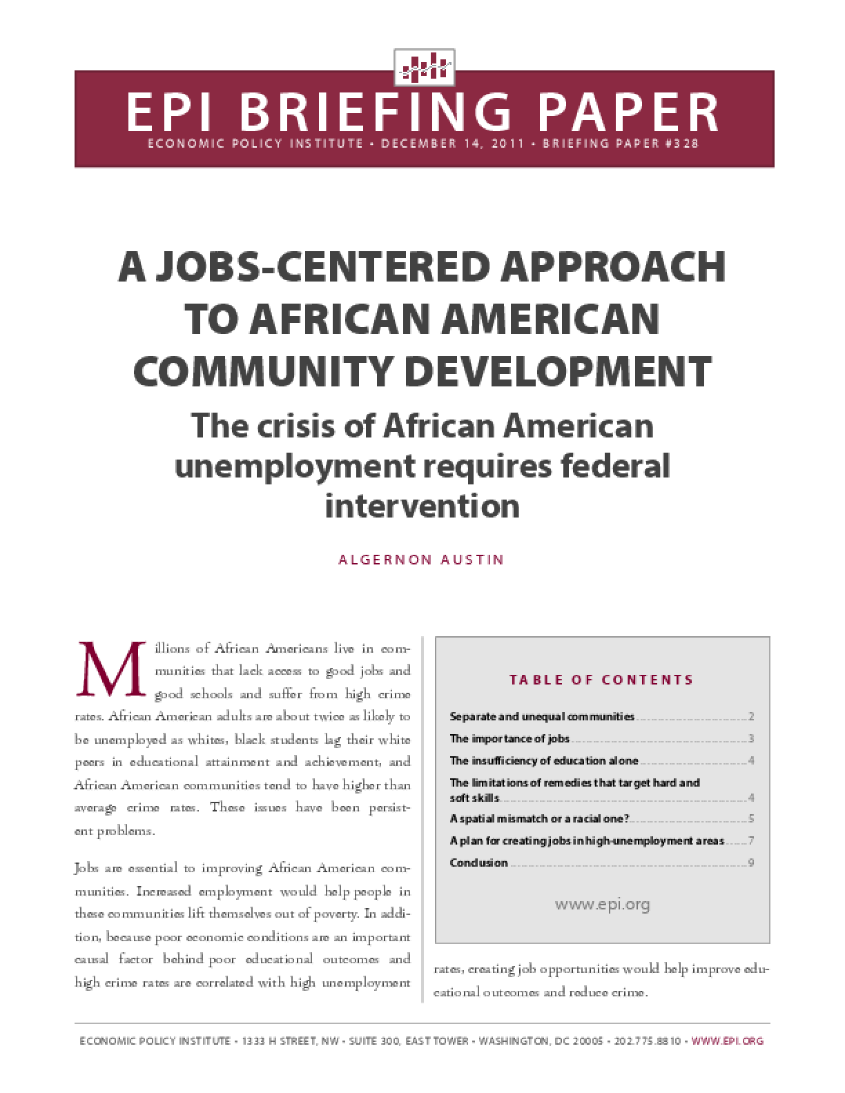 A Jobs-Centered Approach to African-American Community Development
