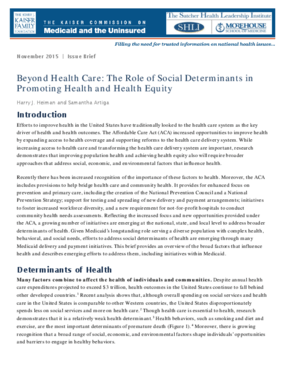 Beyond Health Care: The Role of Social Determinants in Promoting Health and Health Equity