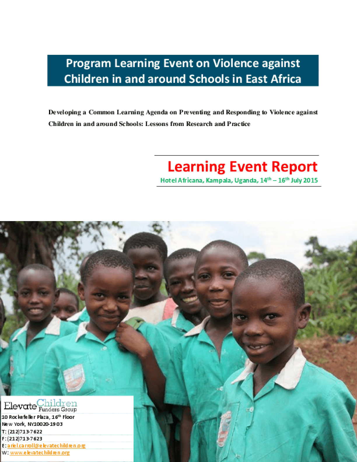 Program Learning Event on Violence against Children in and around Schools in East Africa