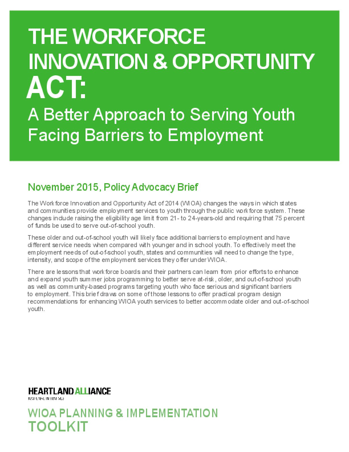 The Workforce Innovation and Opportunity Act: A Better Approach to Serving Youth Facing Barriers to Employment