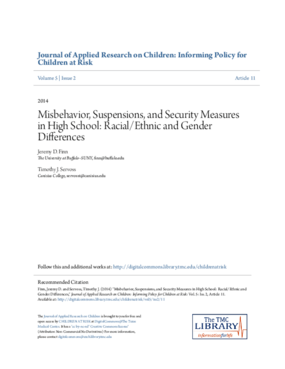 Misbehavior, Suspensions, and Security Measures in High School: Racial/Ethnic and Gender Differences