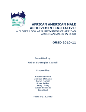 African American Male Achievement Initiative: A Closer Look At Suspensions Of African American Males In OUSD
