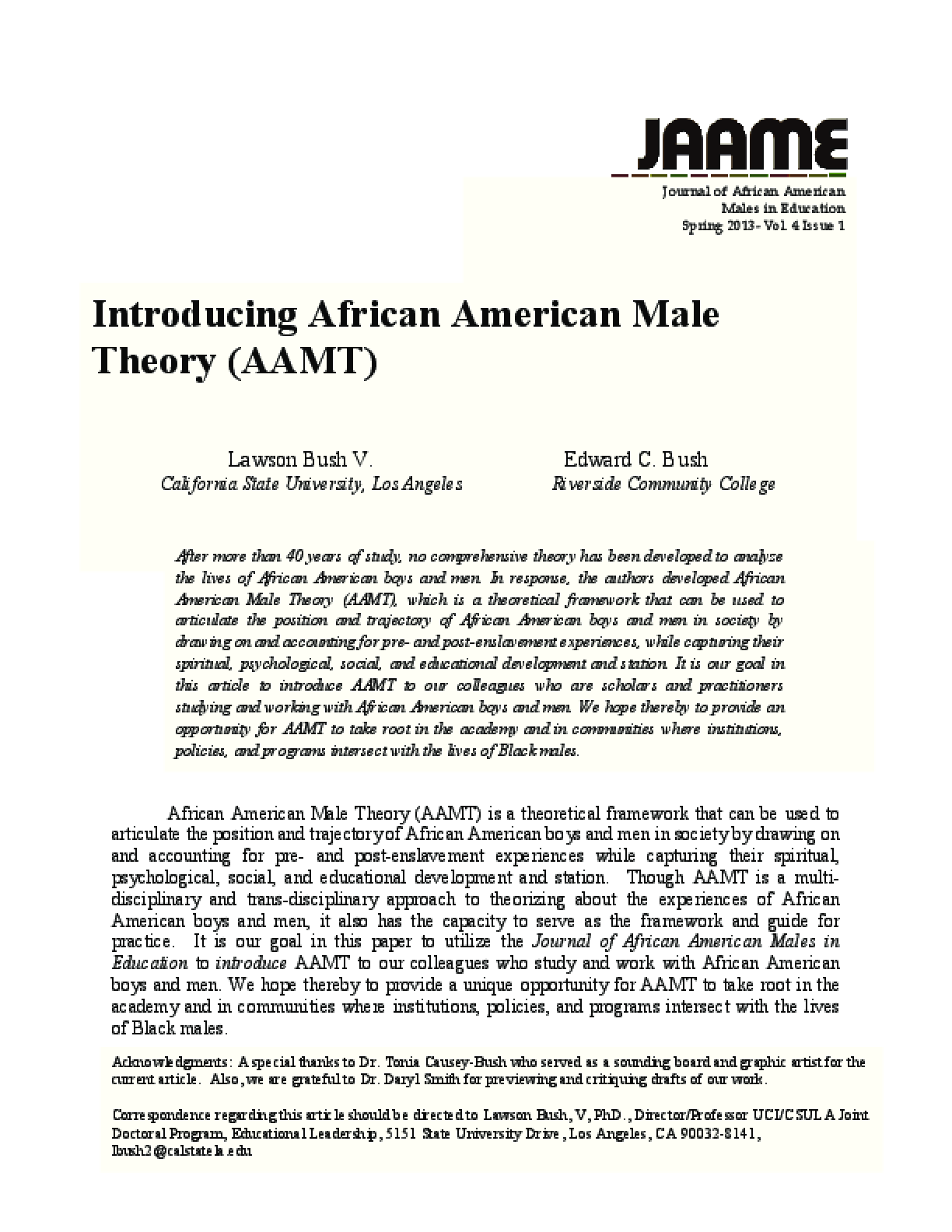 Introducing African American Male Theory