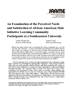 An Examination of the Perceived Needs and Satisfaction of African American Male Initiative Learning Community Participants at a Southeastern University